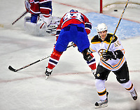 22 April 2009: Boston Bruins' center David Krejci celebrates a first period goal against the Montreal Canadiens at the Bell Centre in Montreal, Quebec, Canada. The Bruins advance to the Eastern Semi-Finals, eliminating the Canadiens from Stanley Cup competition with their 4-1 win and series sweep. ***** Editorial Sales Only ***** Mandatory Credit: Ed Wolfstein Photo