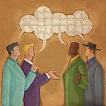 Illustrative image of multi ethnic business people communicating