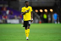 ORLANDO, FL - JULY 20: Blair Turgott #15 of Jamaica waiting for the ball during a game between Costa Rica and Jamaica at Exploria Stadium on July 20, 2021 in Orlando, Florida.