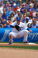 Chicago Cubs first baseman Anthony Rizzo (44) waits for a throw during a game against the Milwaukee Brewers on August 13, 2015 at Wrigley Field in Chicago, Illinois.  Chicago defeated Milwaukee 9-2.  (Mike Janes/Four Seam Images)