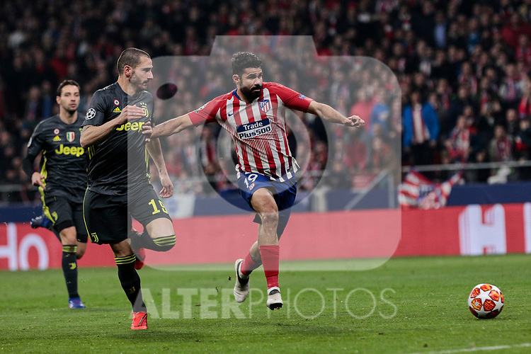 Atletico de Madrid's Diego Costa and Juventus' Leonardo Bonucci during UEFA Champions League match, Round of 16, 1st leg between Atletico de Madrid and Juventus at Wanda Metropolitano Stadium in Madrid, Spain. February 20, 2019. (ALTERPHOTOS/A. Perez Meca)