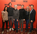 Ty Defoe, Armie Hammer, Tom Skerritt, Paul Schneider, Kate Bornstein, Josh Charles attends photo call for the Second Stage Theatre Company production of 'Straight White Men'  at Sardi's on June 14 30, 2018 in New York City.