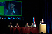 March 20 2003, Montreal, Quebec, Canada<br /> <br />  Andre Boisclair , Quebec Environment Minister speak at the Opening Plenary Session of  Americana ;  a 3 days conference & trade show on envirnment and waste management organized by Reseau Environnement, March 19, 2003 in Montreal, Canada.<br /> <br /> Mandatory Credit: Photo by Pierre Roussel- Images Distribution. (©) Copyright 2003 by Pierre Roussel <br /> <br /> NOTE : <br />  Nikon D-1 jpeg opened with Qimage icc profile, saved in Adobe 1998 RGB<br /> .Uncompressed  Original  size  file availble on request.