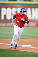 Buffalo Bisons catcher Danny Jansen (9) rounds third base during a game against the Scranton/Wilkes-Barre RailRiders on May 18, 2018 at Coca-Cola Field in Buffalo, New York.  Buffalo defeated Scranton/Wilkes-Barre 5-1.  (Mike Janes/Four Seam Images)