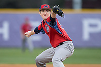 NJIT Highlanders starting pitcher Sean Lubreski (17) delivers a pitch to the plate against the High Point Panthers during game two of a double-header at Williard Stadium on February 18, 2017 in High Point, North Carolina.  The Highlanders defeated the Panthers 4-2.  (Brian Westerholt/Four Seam Images)