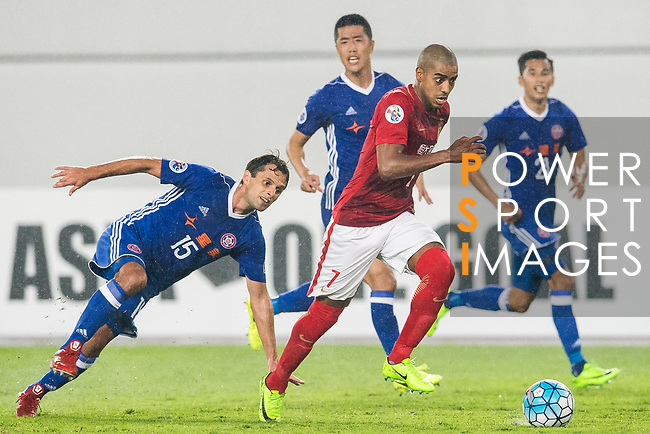 Alan Douglas Borges de Carvalho (r) of Guangzhou Evergrande FC battles for the ball with Affonso Junior Roberto Orlando of Eastern SC during their AFC Champions League 2017 Match Day 1 Group G match between Guangzhou Evergrande FC (CHN) and Eastern SC (HKG) at the Tianhe Stadium on 22 February 2017 in Guangzhou, China. Photo by Victor Fraile / Power Sport Images