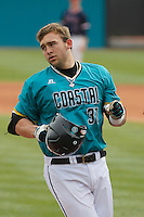 University of Coastal Carolina Chanticleers designated hitter G.K. Young (37) rounding the bases during a game against the University of Virginia Cavaliers at Springs Brooks Stadium on February 21, 2016 in Conway, South Carolina. Coastal Carolina defeated Virginia 5-4. (Robert Gurganus/Four Seam Images)