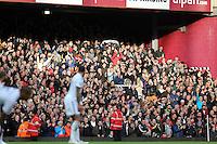 Sunday 07 December 2014<br /> Pictured: Swansea supporters<br /> Re: Premier League West Ham United v Swansea City FC at Boleyn Ground, London, UK.