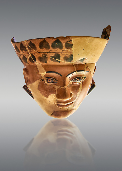 An Etruscan Dinos ( style of vase) with a face, from the Group of Dinoi Campana Ribbon Painter,  540-520 B.C. inv 3784, National Archaeological Museum Florence, Italy , against grey
