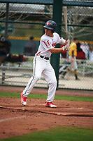 Nicholas Fajardo (2) of Jordan High School in Durham, North Carolina during the Under Armour All-American Pre-Season Tournament presented by Baseball Factory on January 15, 2017 at Sloan Park in Mesa, Arizona.  (Art Foxall/MJP/Four Seam Images)