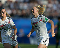 GRENOBLE, FRANCE - JUNE 22: Lea Schueller #7 of the German National Team goal celebration during a game between Nigeria and Germany at Stade des Alpes on June 22, 2019 in Grenoble, France.