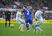SWANSEA, WALES - JANUARY 17:   of  during the Barclays Premier League match between Swansea City and Chelsea at Liberty Stadium on January 17, 2015 in Swansea, Wales.<br /> <br /> Swansea's Wayne Routledge losing out to Branislav Ivanovic