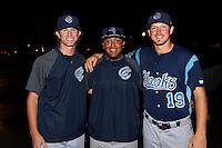 Corpus Christi Hooks relief pitcher Josh Hader, catcher Roberto Pena and starting pitcher Chris Devenski pose for a photo after combining on a no-hitter against against the Arkansas Travelers on May 29, 2015 at Dickey-Stephens Park in Little Rock, Arkansas.  Corpus Christi defeated Arkansas 4-0.  (Mike Janes/Four Seam Images)