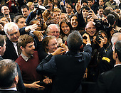 United States President Barack Obama greets students after laying out an energy policy during a speech at Georgetown University in Washington on March 30, 2011. Obama said he wants the U.S. to reduce oil imports by a third in the next 10 years.   .Credit: Roger L. Wollenberg / Pool via CNP