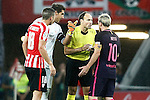 Spanish referee Mateu Lahoz (2r) have words with Athletic de Bilbao's Oscar de Marcos (l) and Gorka Iraizoz (2l) and FC Barcelona's Leo Messi during La Liga match. August 28,2016. (ALTERPHOTOS/Acero)