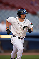 Connecticut Tigers first baseman Will Allen (46) runs to first during the first game of a doubleheader against the Brooklyn Cyclones on September 2, 2015 at Senator Thomas J. Dodd Memorial Stadium in Norwich, Connecticut.  Brooklyn defeated Connecticut 7-1.  (Mike Janes/Four Seam Images)