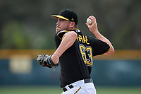 Pittsburgh Pirates pitcher Alex McRae (63) throws live batting practice during the teams first Spring Training practice on February 18, 2019 at Pirate City in Bradenton, Florida.  (Mike Janes/Four Seam Images)