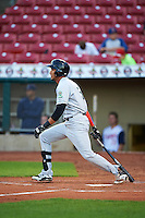 Kane County Cougars outfielder Victor Reyes (5) at bat during a game against the Cedar Rapids Kernels on August 18, 2015 at Perfect Game Field in Cedar Rapids, Iowa.  Kane County defeated Cedar Rapids 1-0.  (Mike Janes/Four Seam Images)