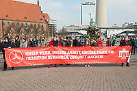 Kundgebung der Gewerkschaft IG Metall-Berlin am Montag den 1. Maerz 2021 vor dem Roten Rathaus in Berlin-Mitte.<br /> Die Gewerkschaft wehrt sich gegen den Abbau von ueber 700 Arbeitsplaetzen in allein im Berliner Siemens-Gasturbinenwerk. Weitere Sparten von Siemens, im Berliner Daimler-Werk und bei Frankotyp-Postalia sind ebenfalls betroffen.<br /> 1.3.2021, Berlin<br /> Copyright: Christian-Ditsch.de