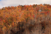 A lone house sits nestled in autumn leaves on the side of a mountain in Elk Park, NC.
