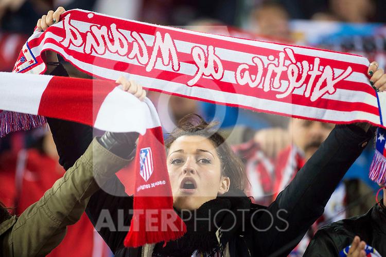 Atletico de Madrid's supporters celebrating the victory during Champions League 2015/2016 Quarter-Finals 2nd leg match. April 13, 2016. (ALTERPHOTOS/BorjaB.Hojas)
