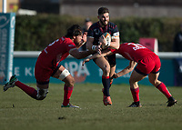 Match action during the Greene King IPA Championship match between London Scottish Football Club and Bristol Rugby at Richmond Athletic Ground, Richmond, United Kingdom on 17 February 2018. Photo by Vince  Mignott.