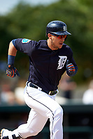 Detroit Tigers shortstop Jose Iglesias (1) runs to first base during an exhibition game against the Florida Southern Moccasins on February 29, 2016 at Joker Marchant Stadium in Lakeland, Florida.  Detroit defeated Florida Southern 7-2.  (Mike Janes/Four Seam Images)
