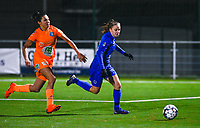 Luna Vanhoudt (43) of KRC Genk pictured in a duel with Jolet Lommen (9) of AA Gent during a female soccer game between  Racing Genk Ladies and AA Gent Ladies on the eleventh matchday of the 2020 - 2021 season of Belgian Scooore Womens Super League , friday 22 th of January 2021  in Genk , Belgium . PHOTO SPORTPIX.BE | SPP | DAVID CATRY