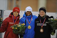 SCHAATSEN: DEVENTER: IJsbaan De Scheg, 26-10-12, IJsselcup, podium 500m, Mayon Kuipers, Anice Das, Rosa Pater, ©foto Martin de Jong