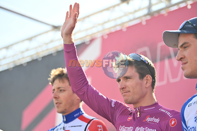 Maglia Ciclamino French Champion Arnaud Demare (FRA) Groupama-FDJ at sign on before the start of Stage 11 of the 103rd edition of the Giro d'Italia 2020 running 182km from Porto Sant'Elpidio to Rimini, Italy. 14th October 2020.  <br /> Picture: LaPresse/Massimo Paolone | Cyclefile<br /> <br /> All photos usage must carry mandatory copyright credit (© Cyclefile | LaPresse/Massimo Paolone)