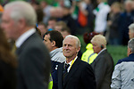 Republic of Ireland 5  Northern Ireland 0, 24/05/2011. Aviva Stadium, Carling Nations Cup. Ireland manager Giovanni Trapattoni watching on as the national anthem is played at Aviva Stadium in Dublin before the Republic of Ireland took on Northern Ireland in a 2011 Carling Nations Cup game. The Republic won the game by 5 goals to 0. The multi-sports venue was originally known as Lansdowne Road and was reopened in 2010 after it was completely redeveloped. Photo by Colin McPherson.