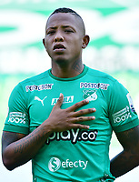 PALMIRA - COLOMBIA, 27-09-2020: Jhon Vasquez del Cali durante el partido entre Deportivo Cali y Alianza Petrolera por la fecha 10 de la Liga BetPlay DIMAYOR I 2020 jugado en el estadio Deportivo Cali de la ciudad de Palmira. / Jhon Vasquez of Cali during match between Deportivo Cali and Alianza Petrolera for the date 10 as part of BetPlay DIMAYOR League I 2020 played at Deportivo Cali stadium in Palmira city.  Photo: VizzorImage / Nelson Rios / Cont