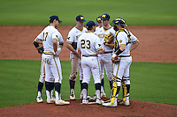 Michigan Wolverines head coach Erik Bakich talks with pitcher Ryan Nutof (8) as Drew Lugbauer (17) Eric Jacobson (12), Jake Bivens (18), Jacob Croneworth (2) and Kendall Patrick (15) listen in during the first game of a doubleheader against the Siena Saints on February 27, 2015 at Tradition Field in St. Lucie, Florida.  Michigan defeated Siena 6-2.  (Mike Janes/Four Seam Images)