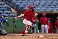 Clearwater Threshers infielder Luis García (5) bats during a game against the Dunedin Blue Jays on May 19, 2021 at BayCare Ballpark in Clearwater, Florida. (Mike Janes/Four Seam Images)