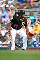 Pittsburgh Pirates first baseman Josh Bell (55) during a Spring Training game against the Toronto Blue Jays  on March 3, 2016 at McKechnie Field in Bradenton, Florida.  Toronto defeated Pittsburgh 10-8.  (Mike Janes/Four Seam Images)