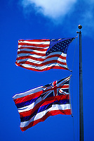 The American and Hawaiian flags together.