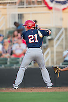 Jakson Reetz (21) of the Hagerstown Suns at bat against the Kannapolis Intimidators at Kannapolis Intimidators Stadium on July 4, 2016 in Kannapolis, North Carolina.  The Intimidators defeated the Suns 8-2.  (Brian Westerholt/Four Seam Images)