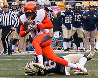 Syracuse defensive back Corey Winfield intercepts a pass. The Pitt Panthers defeated the Syracuse Orange 76-61 at Heinz Field in Pittsburgh, Pennsylvania on November 26, 2016.