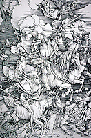 Visual Arts:  Albrecht Durer--The Four Horsemen, 1497-1498.  Woodcut. From the APOCALYPSE.  Photo '91.