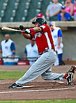 El Paso Diablos 1st Baseman Javier Brito (26) in action during the American Association of Independant Professional Baseball game between the El Paso Diablos and the Fort Worth Cats at the historic LaGrave Baseball Field in Fort Worth, Tx. Fort Worth defeats El Paso 10 to 9.