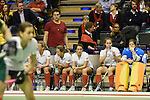 Berlin, Germany, February 01: Players of Duesseldorfer HC on the bench watch the 1. Bundesliga Damen Hallensaison 2014/15 final hockey match between Duesseldorfer HC (white) and HTC Uhlenhorst Muehlheim (green) on February 1, 2015 at the Final Four tournament at Max-Schmeling-Halle in Berlin, Germany. Final score 4-1 (1-0). (Photo by Dirk Markgraf / www.265-images.com) *** Local caption ***