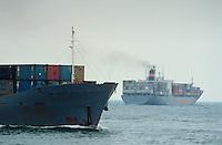 - container ships to the wide of the port of Genoa....- navi portacontainers al largo del porto di Genova