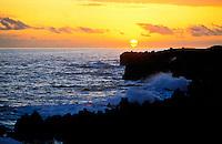 Wainapanapa coastline at sunset, Maui