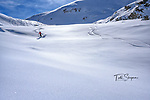 Moira, carving off-piste powder, off the Rothhorn tram in Zermatt, Switzerland. <br /> <br /> skis:  Parlor Kingfishers