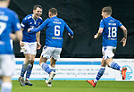 Motherwell v St Johnstone…20.02.21   Fir Park   SPFL<br />Jason Kerr celebrates his goal with Liam Gordon and Ali McCann<br />Picture by Graeme Hart.<br />Copyright Perthshire Picture Agency<br />Tel: 01738 623350  Mobile: 07990 594431