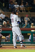 Salt River Rafters second baseman Jeff McNeil (10) at bat during an Arizona Fall League game against the Scottsdale Scorpions on October 14, 2015 at Scottsdale Stadium in Scottsdale, Arizona.  Scottsdale defeated Salt River 13-3.  (Mike Janes/Four Seam Images)