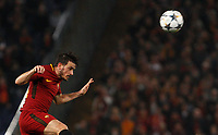 Roma s Alessandro Florenzi heads the ball during the Uefa Champions League round of 16 second leg soccer match between Roma and Shakhtar Donetsk at Rome's Olympic stadium, March 13, 2018. Roma won. 1-0 to join the quarter finals.<br /> UPDATE IMAGES PRESS/Riccardo De Luca