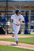 Detroit Tigers John Valente (28) during a Minor League Spring Training game against the Toronto Blue Jays on March 22, 2019 at the TigerTown Complex in Lakeland, Florida.  (Mike Janes/Four Seam Images)