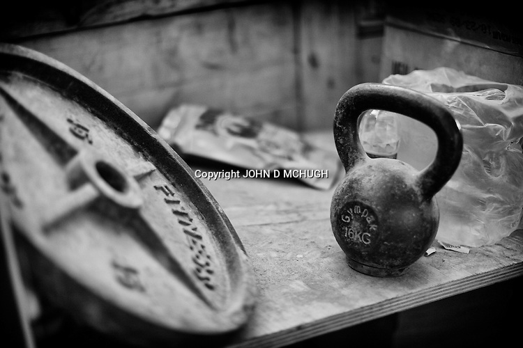 Gym equipment is seen at Checkpoint 2.5, beside Saw village, in Kunar province, 02 Dec 2011. (John D McHugh)