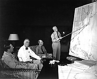 Pres. F. D. Roosevelt in conference with Gen. D. MacArthur, Adm. Chester Nimitz, Adm. W. D. Leahy, while on tour in Hawaiian Islands.  1944. (Navy)<br /> Exact Date Shot Unknown<br /> NARA FILE #:  080-G-239549<br /> WAR & CONFLICT BOOK #:  749